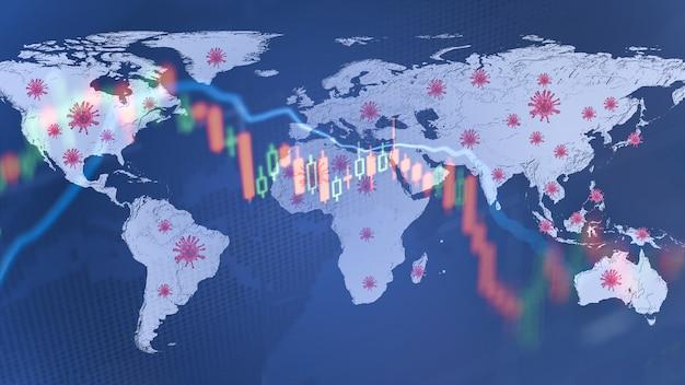 Coronavirus heeft invloed op de financiële crisis van de aandelenmarkten van de wereldeconomie