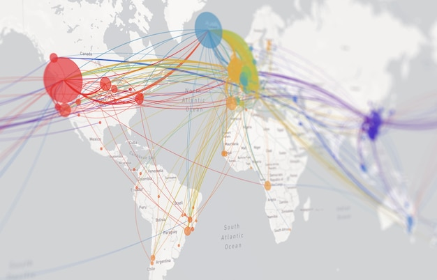 Coronavirus-infectieroute op wereldkaart. covid 19-kaart bevestigde gevallen rapporteren wereldwijd wereldwijd. update over de situatie van de coronavirusziekte wereldwijd. kaarten laten zien waar het coronavirus