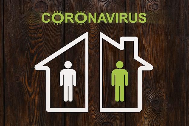 Coronavirus of covid 19. isolatie in huizenconcept