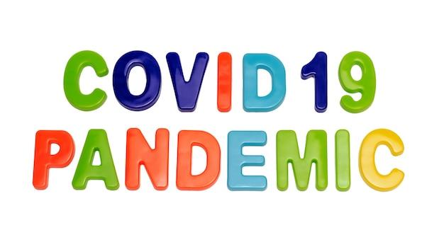 Coronavirus pandemie tekst covid19 pandemie op een witte achtergrond wereldwijde pandemie