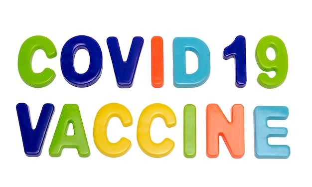 Coronavirus pandemische tekst covid19 vaccin op een witte achtergrond een vaccin om een ziekte te behandelen
