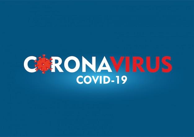 Coronavirus tekst op blauwe achtergrond
