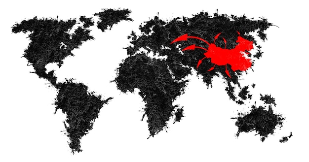 Coronavirus-uitbraak op de wereldkaart. uit china pandemische ziekte. gevaarlijke gevallen van griepstammen. gezondheidsprobleem, epidemie, virussen vallen concept aan.