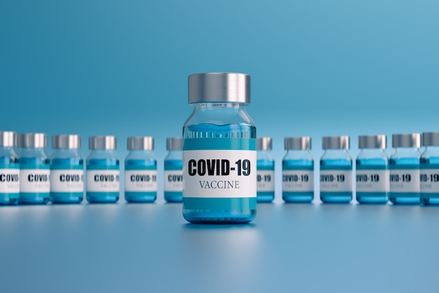 Coronavirus vaccin ampullen, op lichtblauw