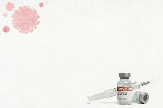 Coronavirus-vaccinbehandelingsachtergrond met lege ruimte