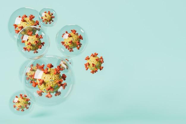 Coronaviruscellen in bubbels met blauwe achtergrond. concept van quarantaine, isolatie en pandemie. 3d-rendering