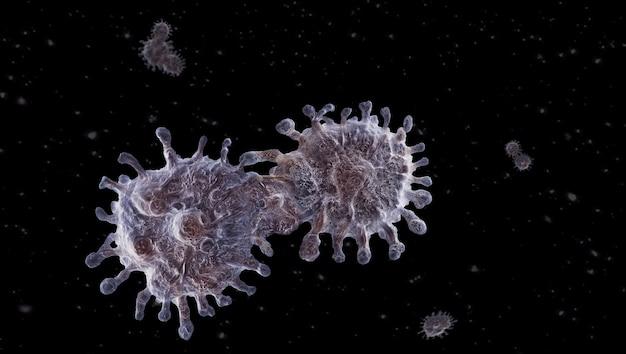Coronavirusuitbraak bij wuhan 3d illustratie.