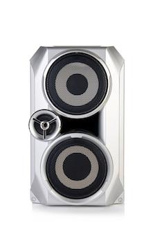 Correcte audiospreker die op witte achtergrond wordt geïsoleerd