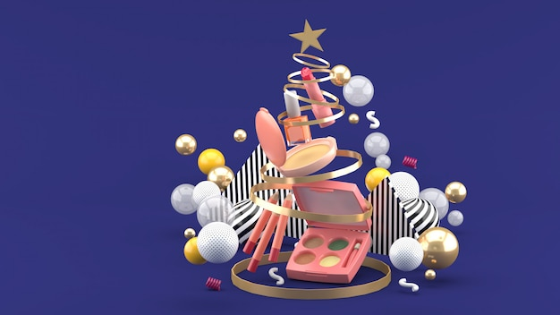 Cosmetica in een kerstboom ribbonmid kleurrijke ballen op paars. 3d-weergave.
