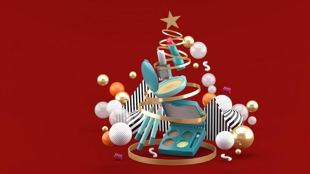 Cosmetica in een kerstboom ribbonmid kleurrijke ballen op rood. 3d-weergave.