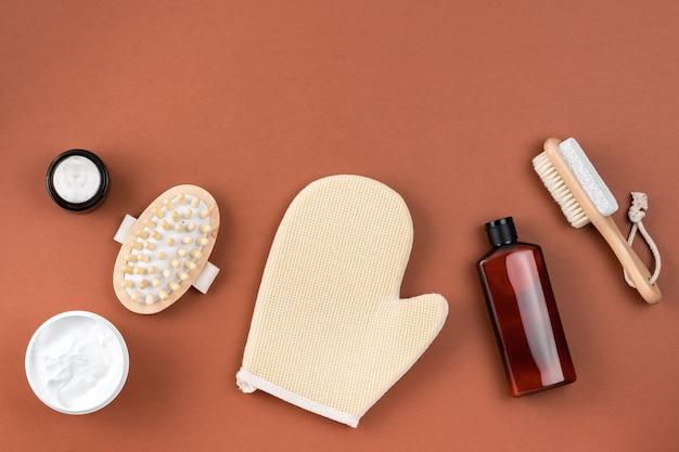 Cosmetica spa branding mockup op bruin oppervlak