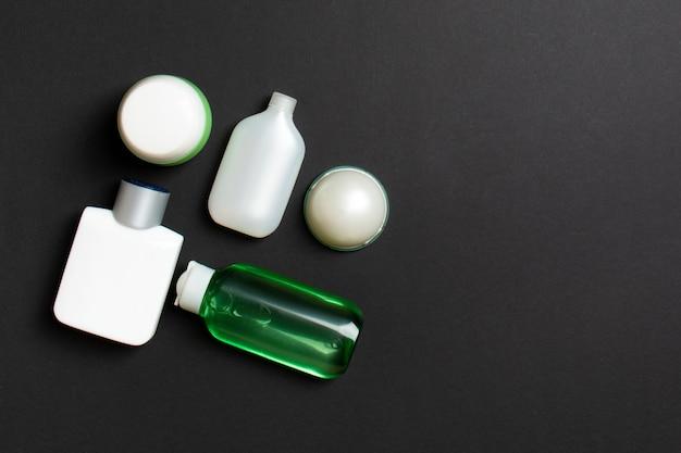 Cosmetics spa-merkmodel, bovenaanzicht met kopie ruimte