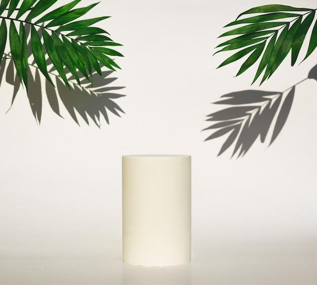 Cosmetisch flessenpodium en groene bladeren met schaduwen op witte achtergrond