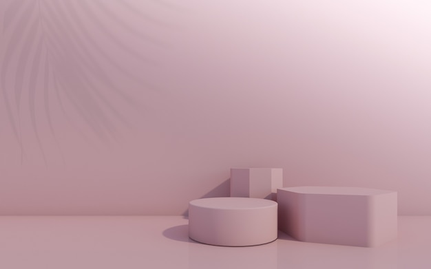 Cosmetisch flessenpodium met groen blad op roze achtergrond. 3d-rendering.