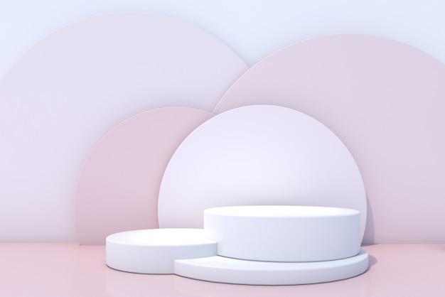 Cosmetisch flessenpodium op roze achtergrond. 3d-rendering.