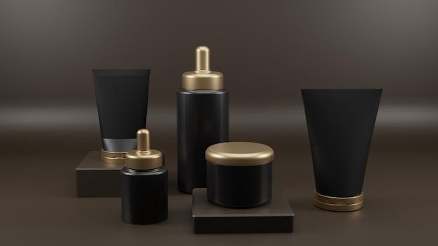 Cosmetische blanco flessen verpakt in luxe goud