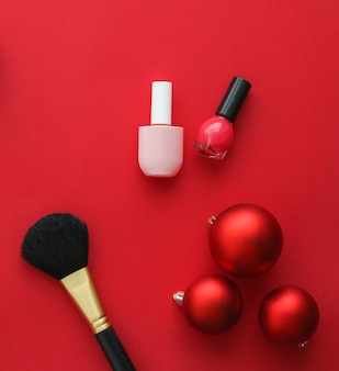 Cosmetische branding fashion blog cover en girly glamour concept make-up en cosmetica product set voor...