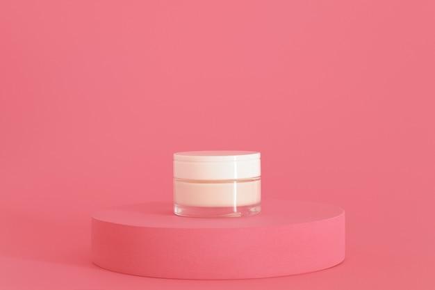Cosmetische crèmeverpakking op roze podium. crème presentatie op de roze achtergrond. mock-up.