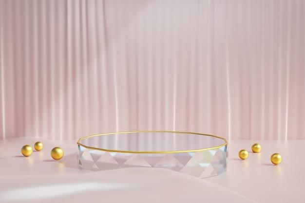 Cosmetische display productstandaard, diamond glazen podium met gouden bal en roze stoffen vloer op donkere achtergrond. 3d-rendering illustratie