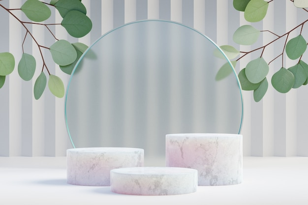 Cosmetische display productstandaard, drie marmeren podium met cirkel glazen wand en natuurblad op lichte achtergrond. 3d-rendering illustratie