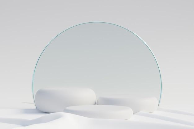 Cosmetische display productstandaard, drie witte ronde cilinder podium met cirkel matte glazen wand op witte doek achtergrond. 3d-rendering illustratie