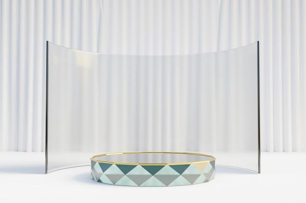 Cosmetische display productstandaard, glass gold podium met gebogen glazen wand op lichte achtergrond. 3d-rendering illustratie