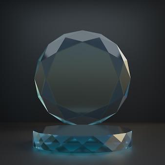 Cosmetische display productstandaard, glazen diamantcilinder podium met cirkel diamanten glazen wand op donkere achtergrond. 3d-rendering illustratie