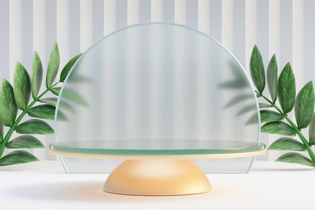 Cosmetische display productstandaard, glazen gouden podium met groene bladplant op lichte achtergrond. 3d-rendering illustratie