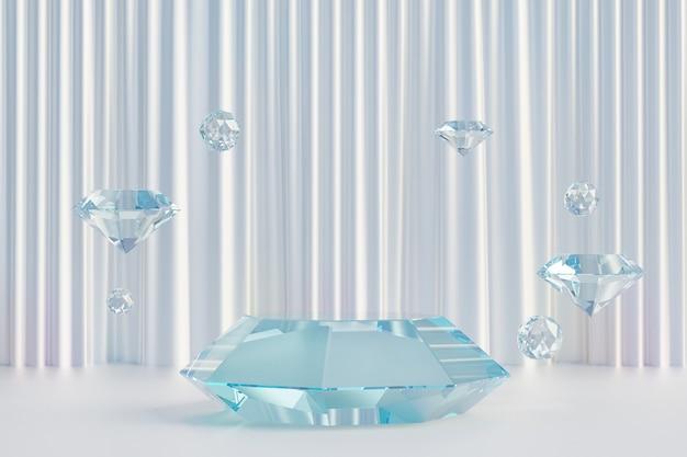 Cosmetische display productstandaard, glazen ruitvorm podium met glanzend gordijn op witte achtergrond. 3d-rendering illustratie