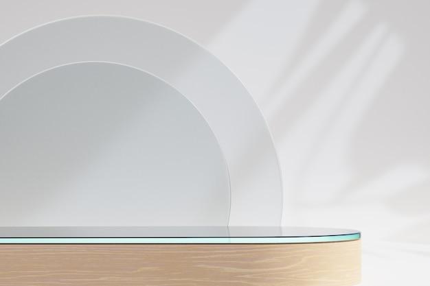 Cosmetische display productstandaard, glazen tafelblad houten podium met glazen wand op lichte achtergrond. 3d-rendering illustratie