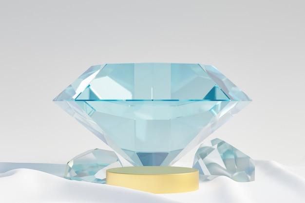 Cosmetische display productstandaard, gouden podium met diamanten glazen wand op lichte doek achtergrond. 3d-rendering illustratie