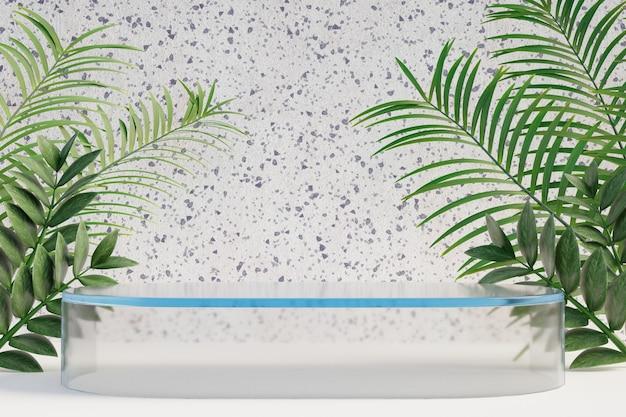 Cosmetische display productstandaard, helder glazen podium met natuurpalmblad op lichte marmeren achtergrond. 3d-rendering illustratie