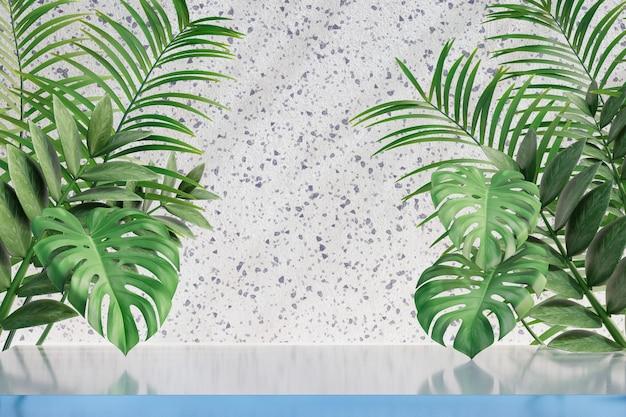 Cosmetische display productstandaard, helder glazen vloer tafelblad met natuurpalmblad op lichte marmeren achtergrond. 3d-rendering illustratie