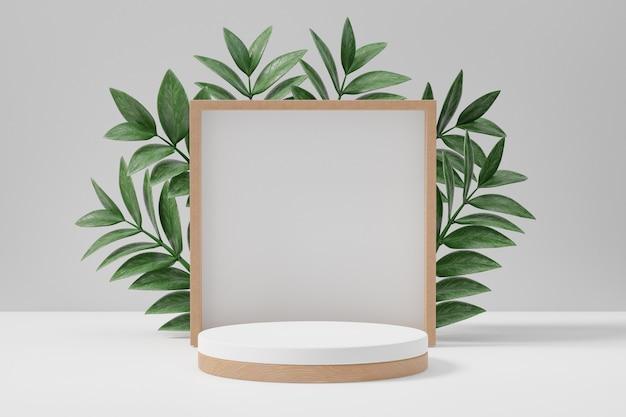 Cosmetische display productstandaard, houten cilinder en vierkante muur met groene bladachtergrond. 3d-rendering illustratie