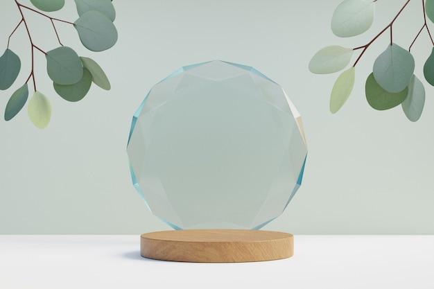 Cosmetische display productstandaard, houten cilinder podium met cirkel diamanten glazen wand en natuurblad op lichte achtergrond. 3d-rendering illustratie