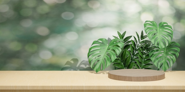 Cosmetische display productstandaard, houten ronde cilinder podium op houten bord met groene bladachtergrond. 3d-rendering illustratie