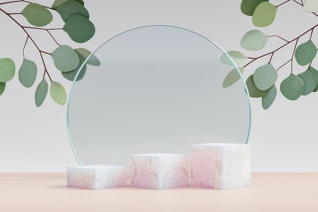 Cosmetische display-productstandaard, marmeren podium met drie vakken met cirkelvormige diamanten glazen wand en natuurblad op lichte achtergrond. 3d-rendering illustratie
