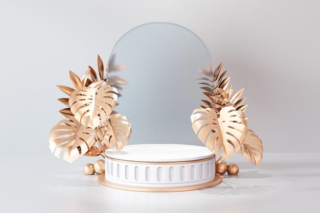 Cosmetische display productstandaard, romeins wit cilinderpodium met cirkelboog matte glazen wand en bladgoud op lichte achtergrond. 3d-rendering illustratie