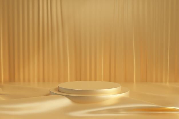 Cosmetische display productstandaard, stap gouden podium met gordijn en doek gouden vloer op donkere achtergrond. 3d-rendering illustratie