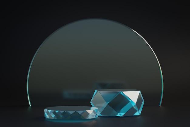 Cosmetische display productstandaard, twee glazen diamantcilinder podium met cirkel diamanten glazen wand op donkere achtergrond. 3d-rendering illustratie