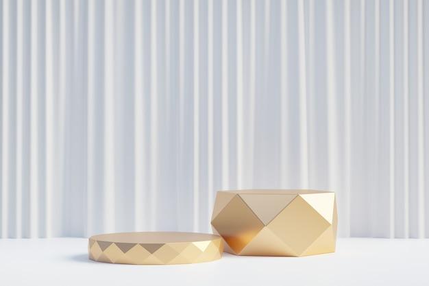 Cosmetische display productstandaard, twee gouden diamanten cilinder podium op witte gordijn achtergrond. 3d-rendering illustratie