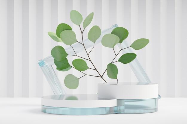 Cosmetische display productstandaard, twee witte glazen podium met frame glazen wand en natuurblad op lichte achtergrond. 3d-rendering illustratie