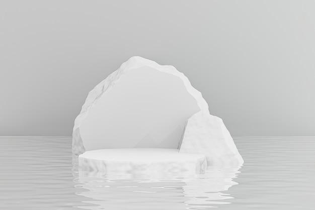 Cosmetische display productstandaard, white rock stone podium weerspiegelt water rimpel achtergrond. 3d-rendering illustratie Premium Foto