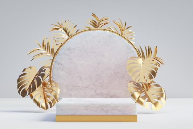 Cosmetische display productstandaard, wit marmeren gouden podium met cirkelmuur en gouden palmblad op lichte achtergrond. 3d-rendering illustratie