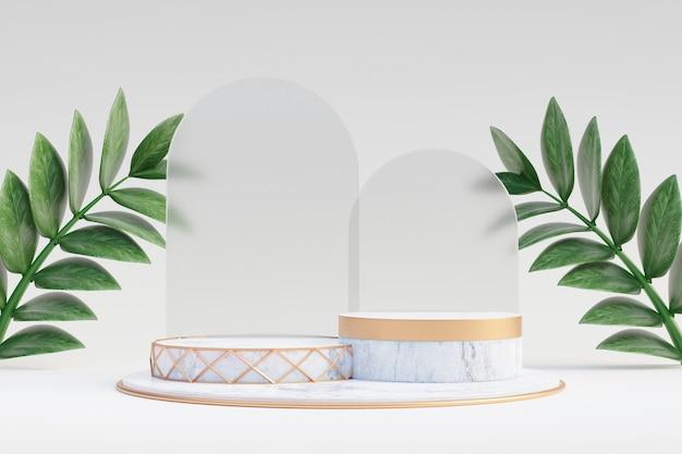 Cosmetische display productstandaard, wit marmeren gouden podium met glazen wand en groene bladplant op lichte achtergrond. 3d-rendering illustratie