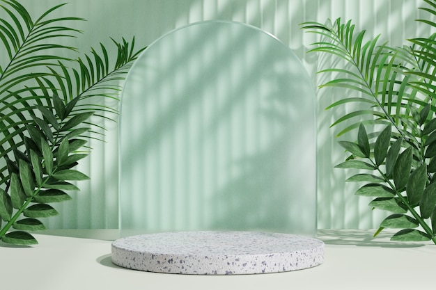 Cosmetische display productstandaard, wit marmeren podium met cirkel glazen wand en natuur palmblad op lichtgroene achtergrond. 3d-rendering illustratie