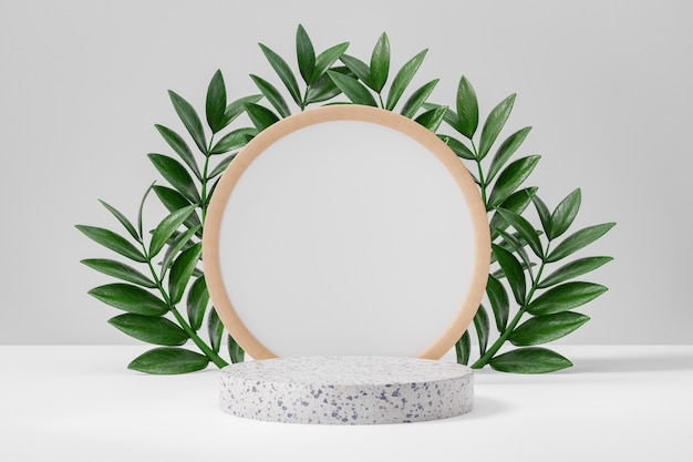 Cosmetische display productstandaard, wit marmeren ronde cilinder podium en cirkel houten frame muur met groene bladachtergrond. 3d-rendering illustratie