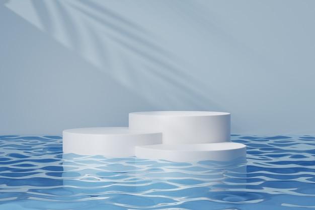 Cosmetische display-productstandaard, wit rond cilinderpodium op blauwe waterreflectie en zonlichtschaduwachtergrond. 3d-rendering illustratie
