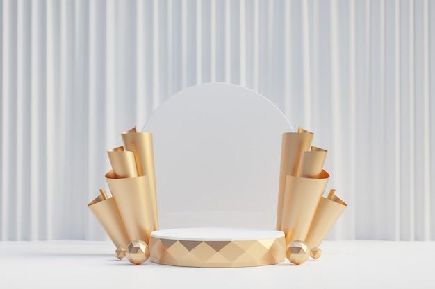 Cosmetische displayproductstandaard, gouden diamantcilinderpodium en gouden rij op witte gordijnachtergrond. 3d-rendering illustratie