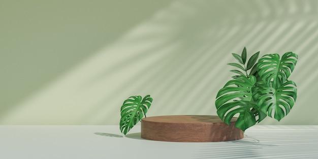Cosmetische displayproductstandaard, houten cirkelcilinderpodium met groene bladachtergrond. 3d-rendering illustratie